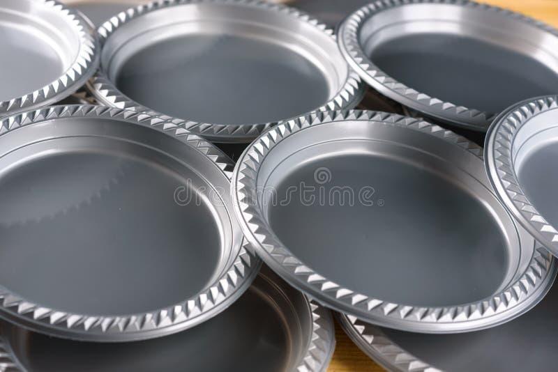 Grey Plastic Party Dinner Plate arkivbild