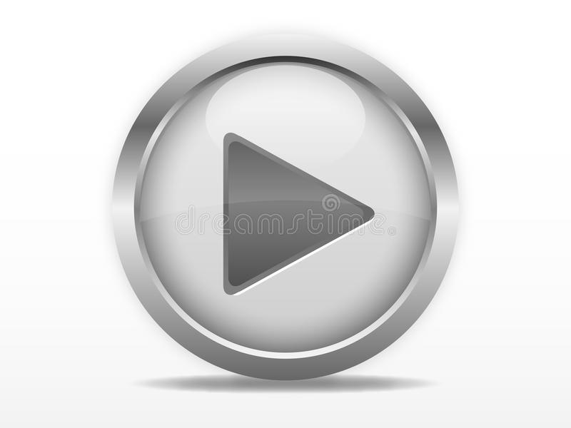 Grey play button. Grey web button with play sign
