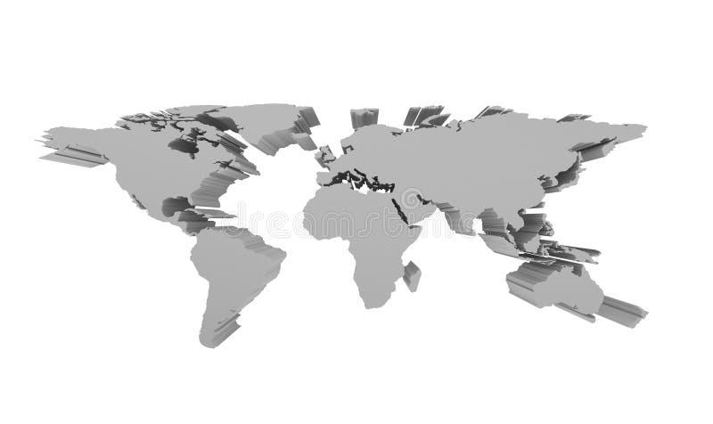 Grey Political World Map isolerade på vit, 3d perspektivet Illu royaltyfri illustrationer