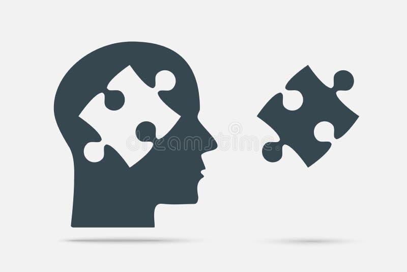 Grey Puzzle Piece Head Pusselobjekt stock illustrationer
