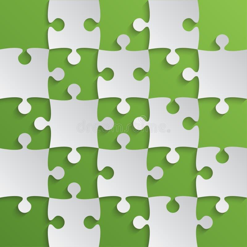 Grey Puzzle Pieces Green - zackiges Feld-Schach lizenzfreie abbildung