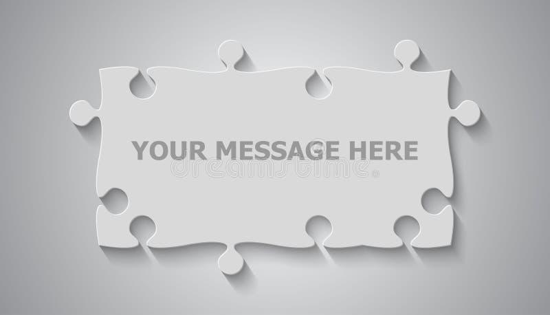 Grey Puzzle Rectangle Banner Serra de vaivém do enigma ilustração do vetor
