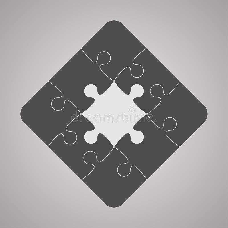 Grey Puzzles Pieces JigSawI symbolssymbol - 9 vektor illustrationer