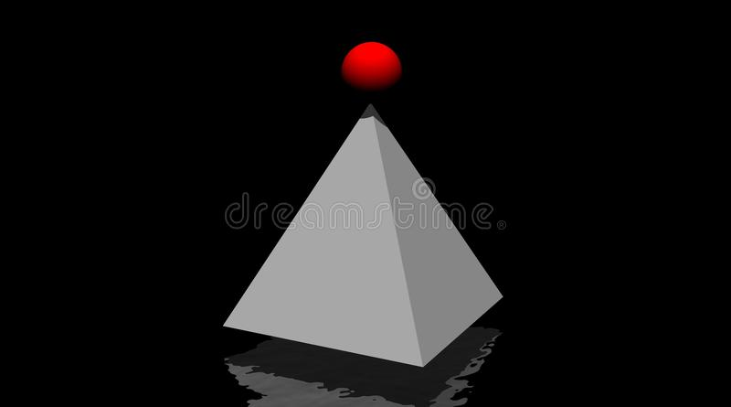 Grey Pyramid And Small Red Winning Ball On It Stock Photo