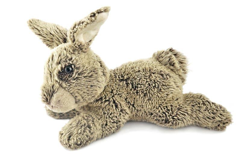 Grey rabbit. Toy isolated on white bckground royalty free stock photos