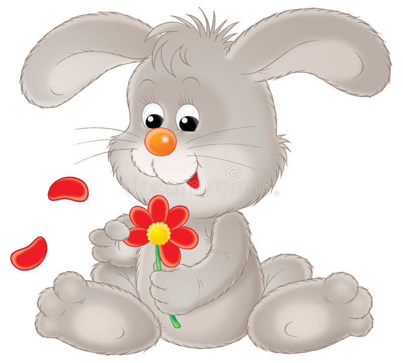 Grey rabbit. Isolated clip-art and children's illustration for yours design, postcard, album, cover, scrapbook, etc