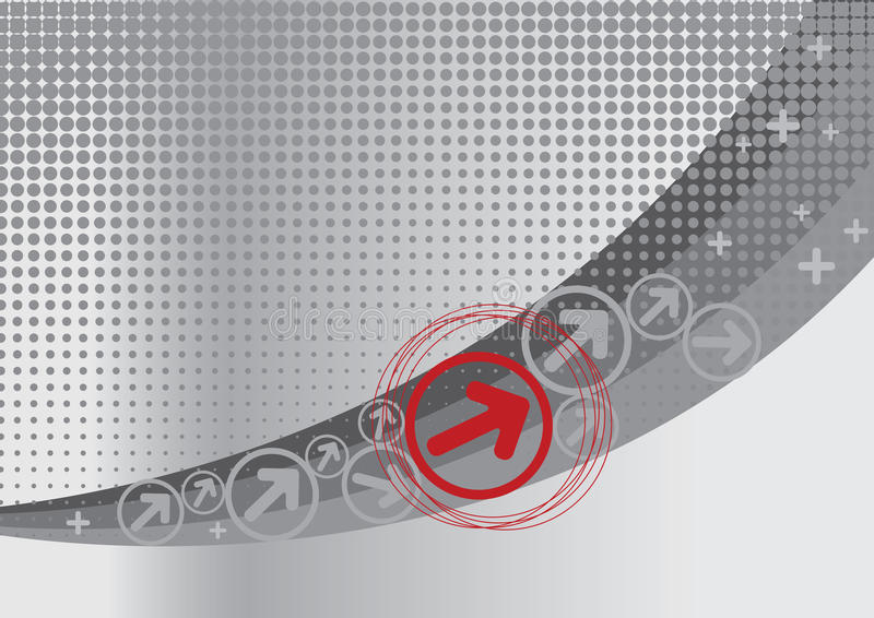Grey And Red Background With Halftone Royalty Free Stock Photo