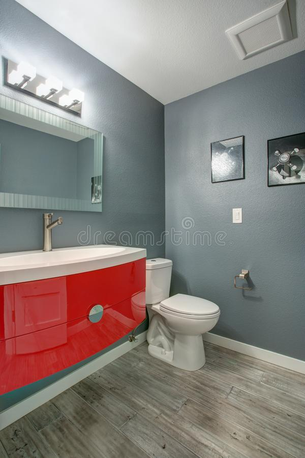 Grey and red bathroom design in a freshly renovated home. stock images