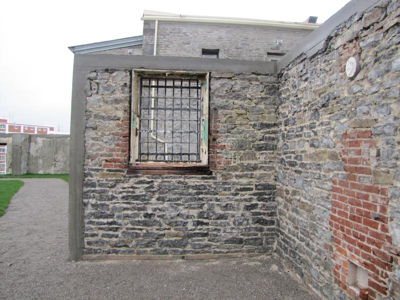 Remnants of Prison Walls and Courtyard stock photography