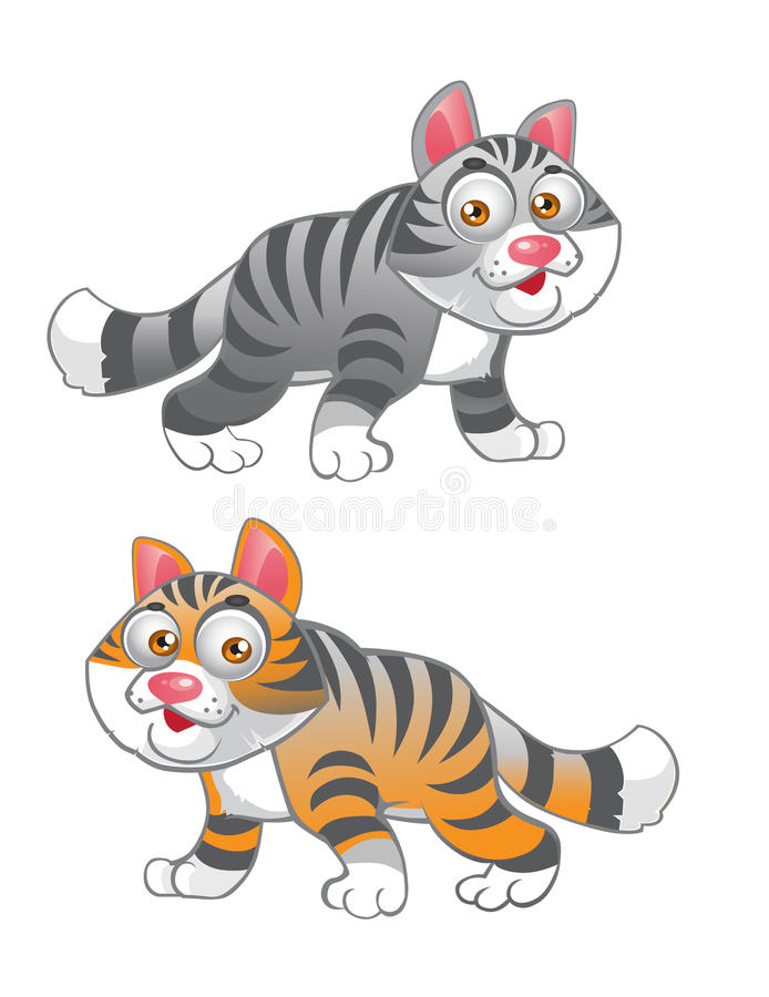 Grey and red vector cats