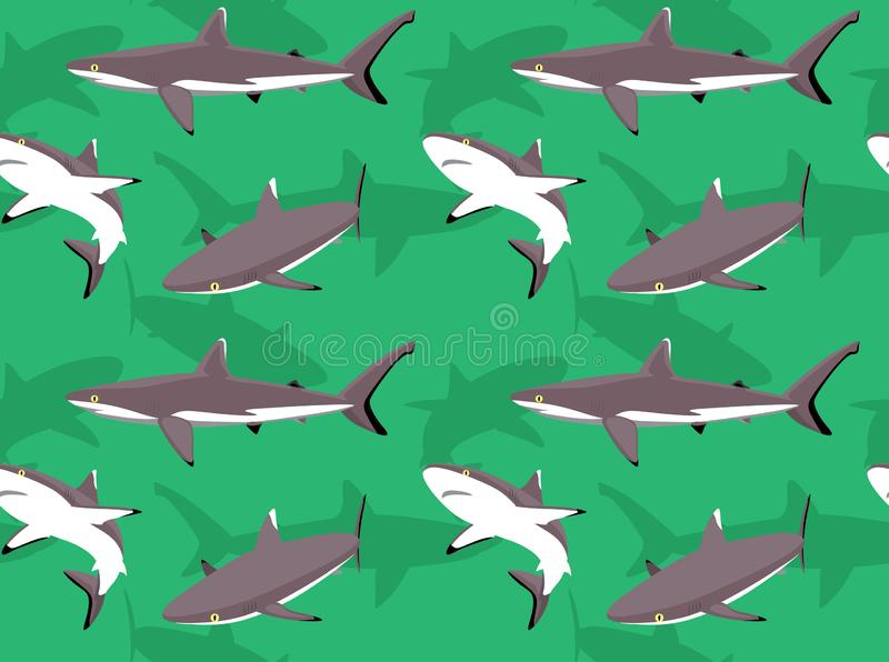 Grey Reef Shark Cartoon Background sömlös tapet vektor illustrationer