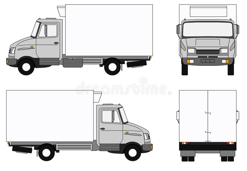 Grey refrigerator lorry vector illustration