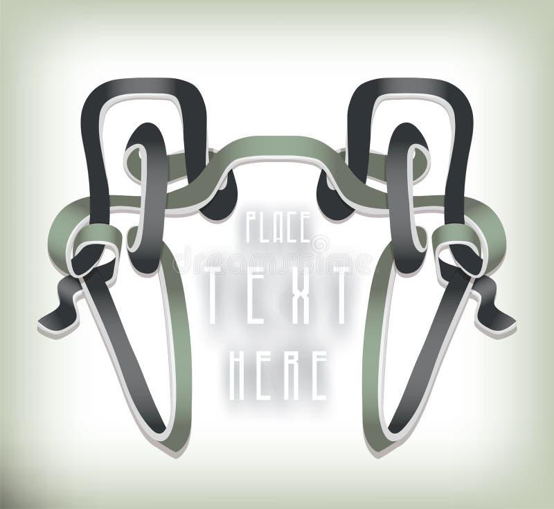 Grey Ribbon Decoration de prata ilustração stock