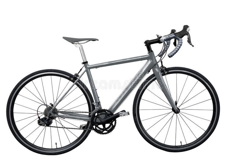 The grey road bike/bicycle on white background isolated. Grey road bike/bicycle on white background isolated stock images