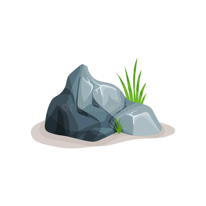 Grey rock stone with grass, design element of natural landscape vector Illustration on a white background royalty free illustration