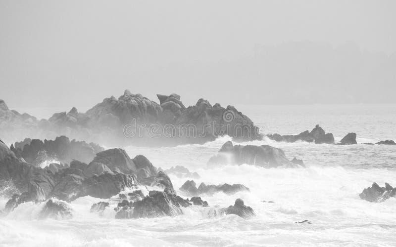 Grey Rocky Californian Beach Coast fotos de stock royalty free