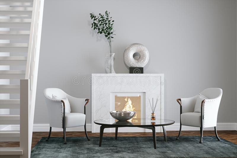 Grey room with fireplace and stairs 3d render stock illustration