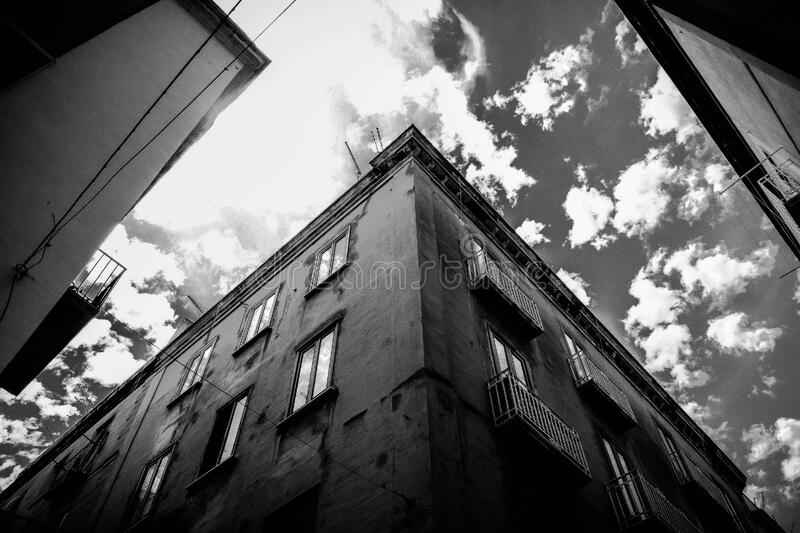 Grey Scale Photo of Building during Daytime stock image