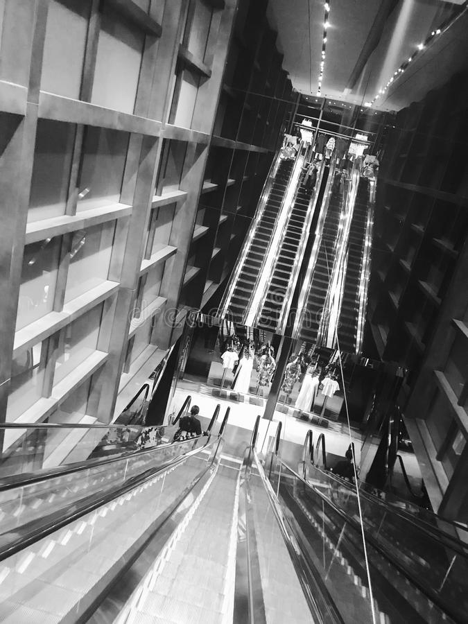Grey Scale Photo of Escalator stock photo