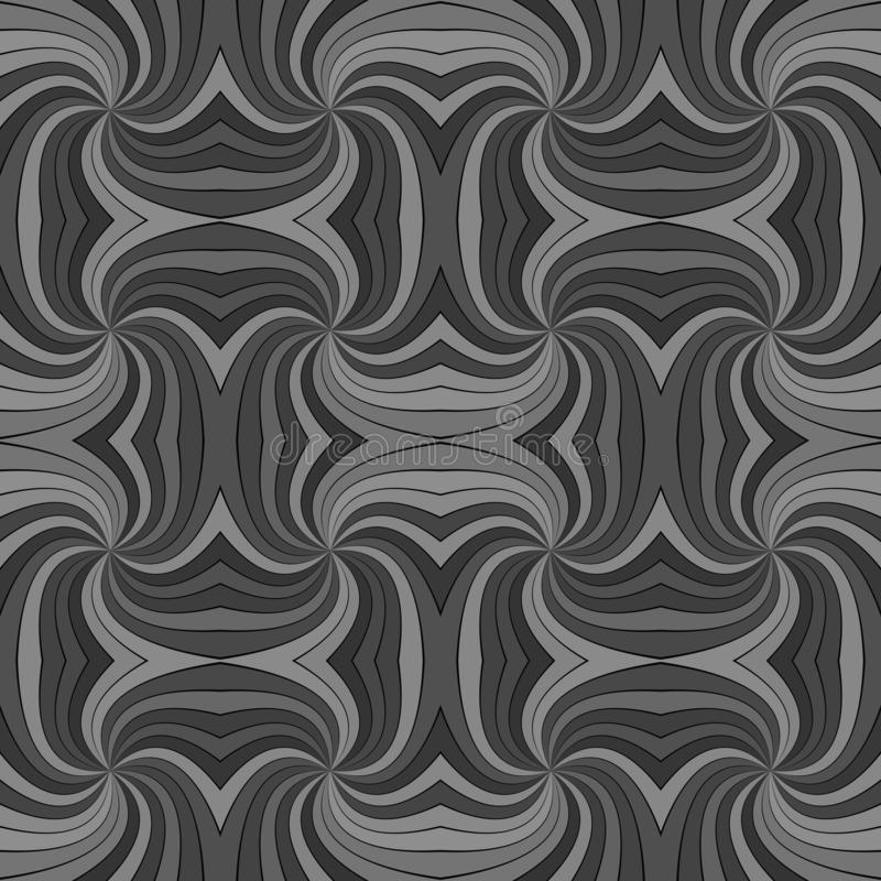 Grey seamless abstract psychedelic spiral ray burst stripe pattern background. Vector graphic design vector illustration