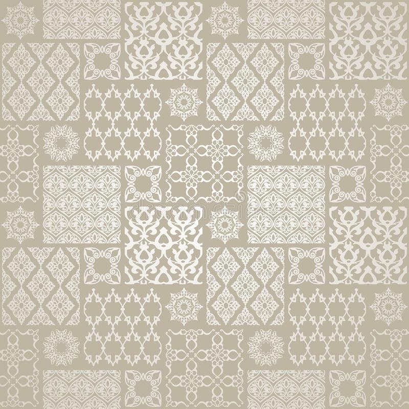 Grey seamless pattern with oriental motif. Patchwork background royalty free illustration