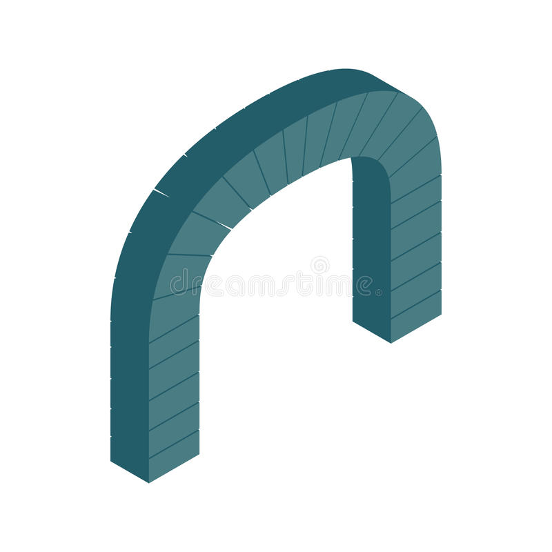 Grey semicircular stone arch icon vector illustration