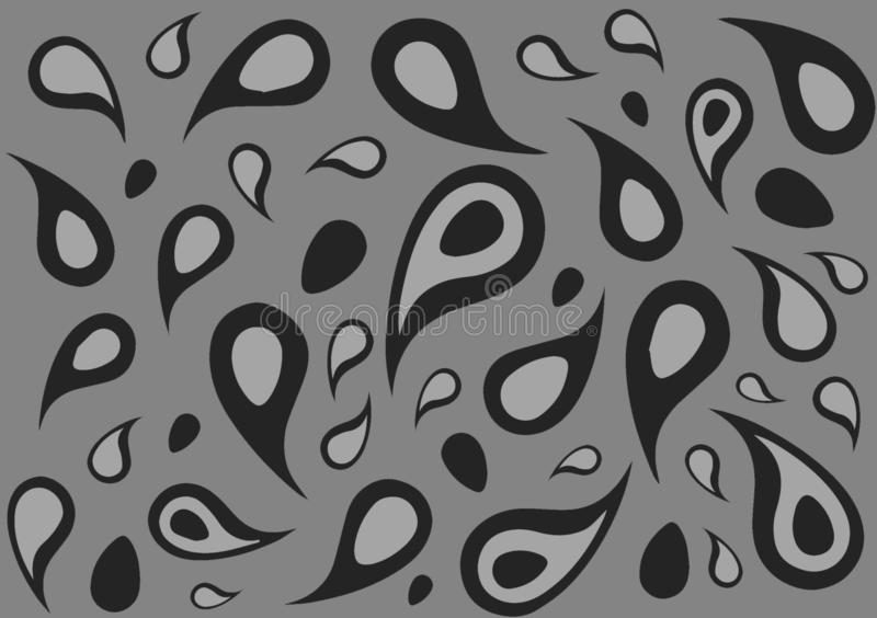 Grey shade paisley wallpaper background. Also for use as design layout with text and images royalty free illustration