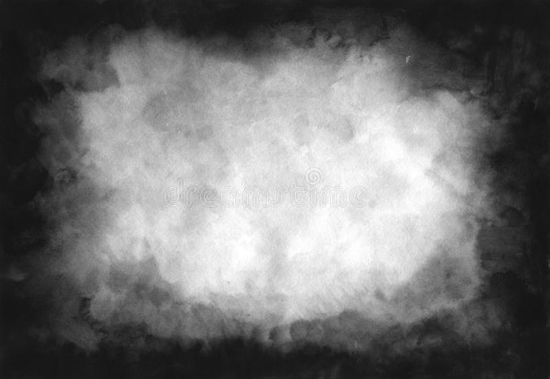 Grey shades watercolor background. Abstract black and white ink effect water color illustration. Grunge monochrome smeared gray stock illustration