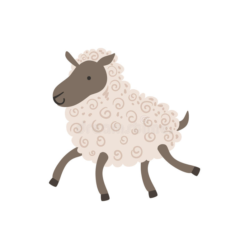 Grey Sheep With White Wool gå stock illustrationer