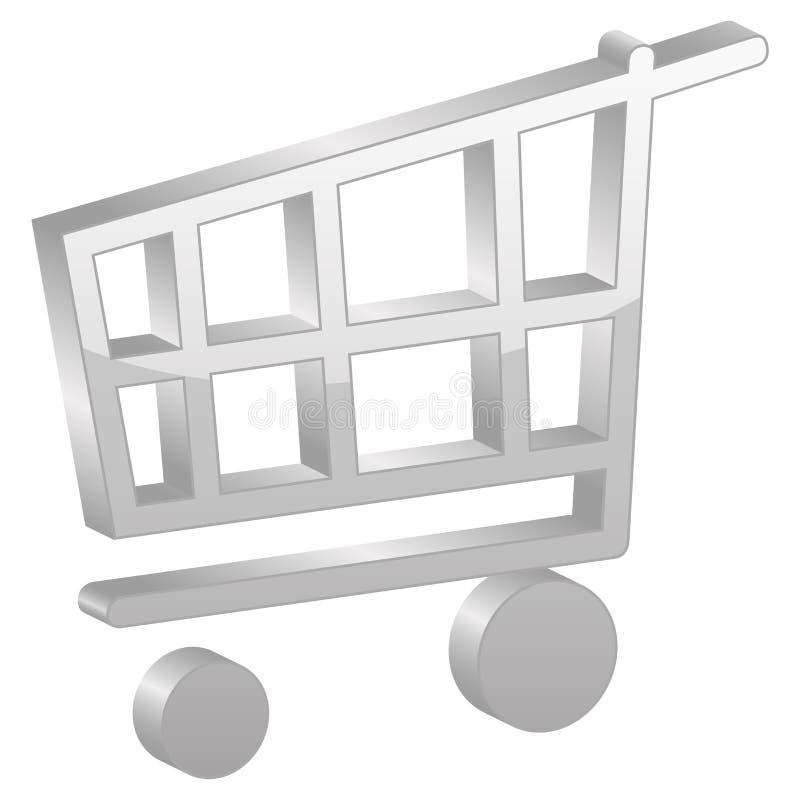 Grey shopping cart symbol vector illustration
