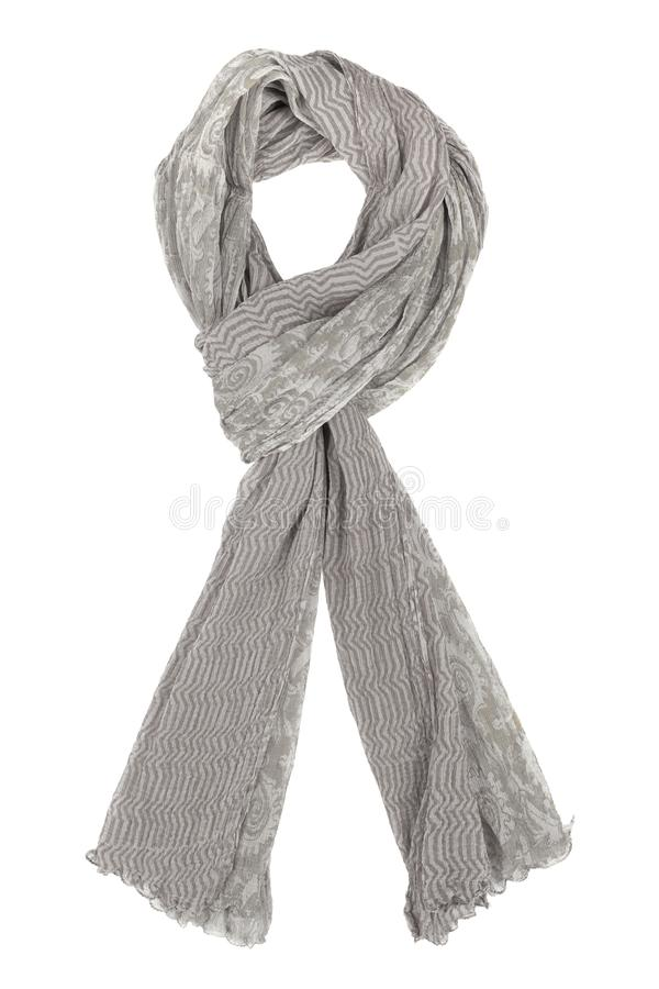 Grey silk scarf isolated on white background. Female accessory stock image