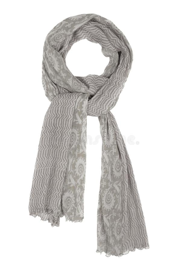 Grey silk scarf isolated on white background. Female accessory stock photo