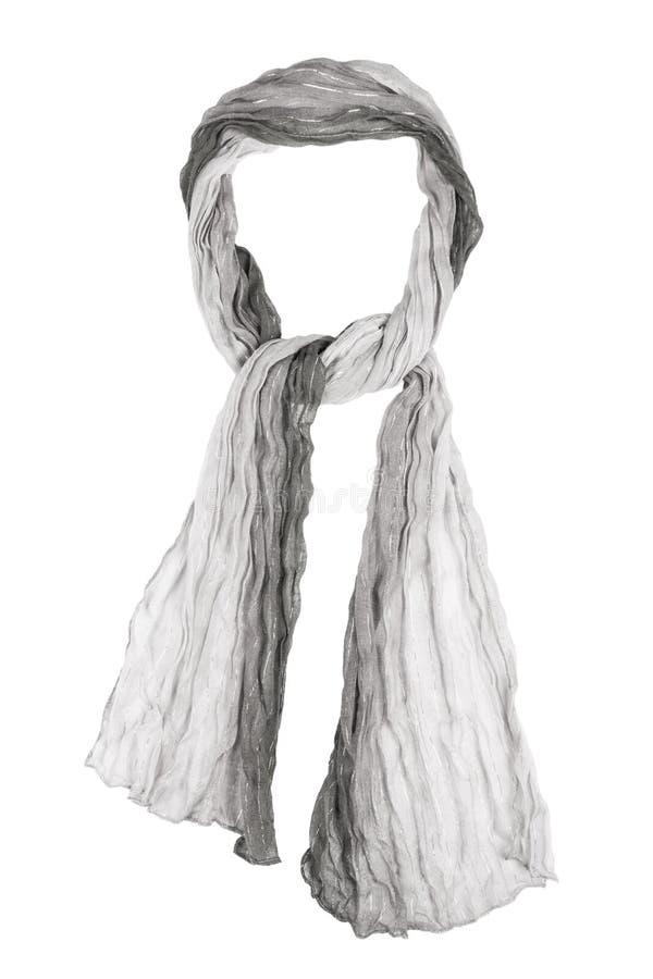 Grey silk scarf isolated on white background. Female accessory royalty free stock image
