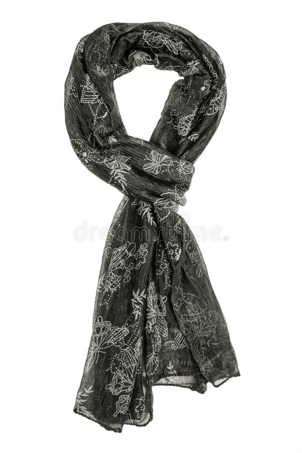 Grey silk scarf isolated on white background. Female accessory royalty free stock photography