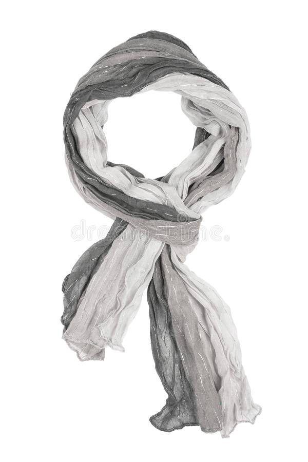Grey silk scarf isolated on white background. Female accessory royalty free stock images