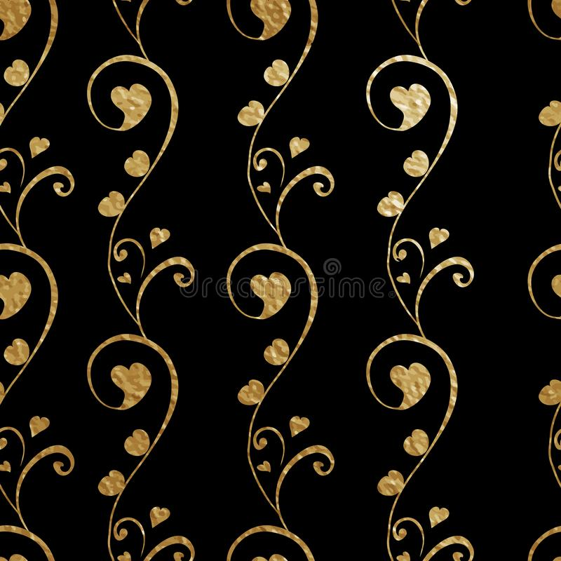 Seamless pattern for floral design. Abstract stylized flowers with heart bud. Golden outlines on the black background royalty free illustration