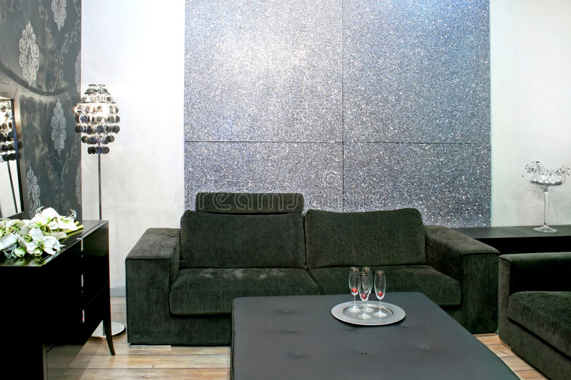 Grey sitting area. Contemporary sitting area in grey color tone royalty free stock image