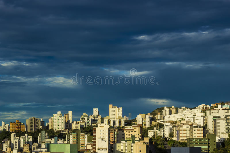 Grey sky. Announcing storms over an urban landscape in Belo Horizonte (Brazil royalty free stock images