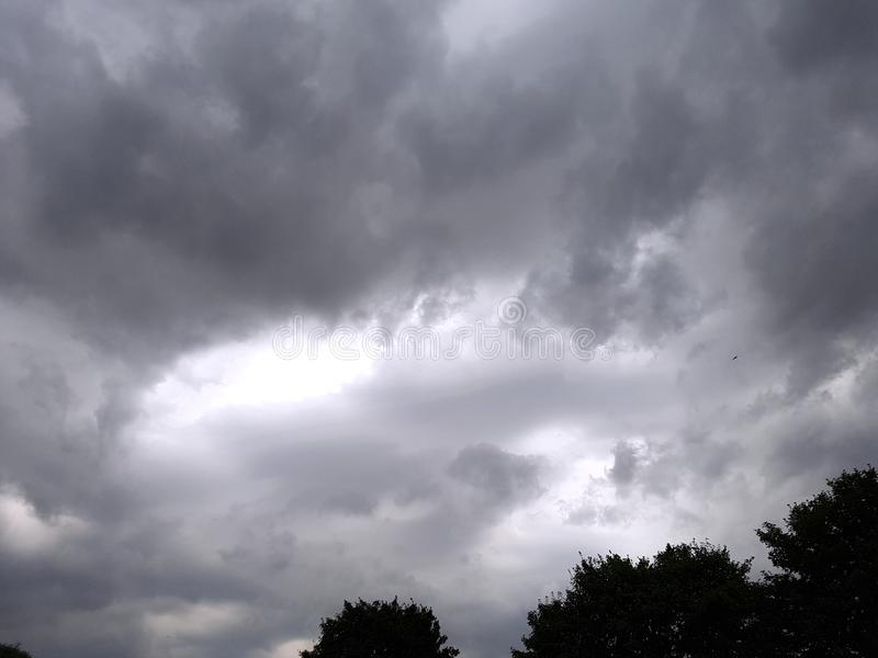 Grey sky and dark clouds royalty free stock image