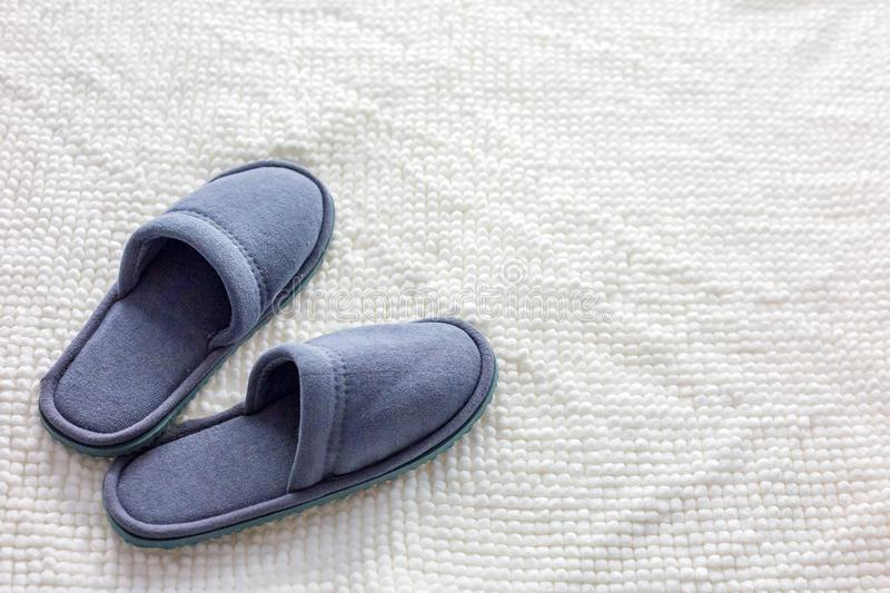 Grey Slippers no tapete imagens de stock royalty free