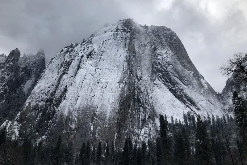 Grey Snowy Mountain Top stock photography