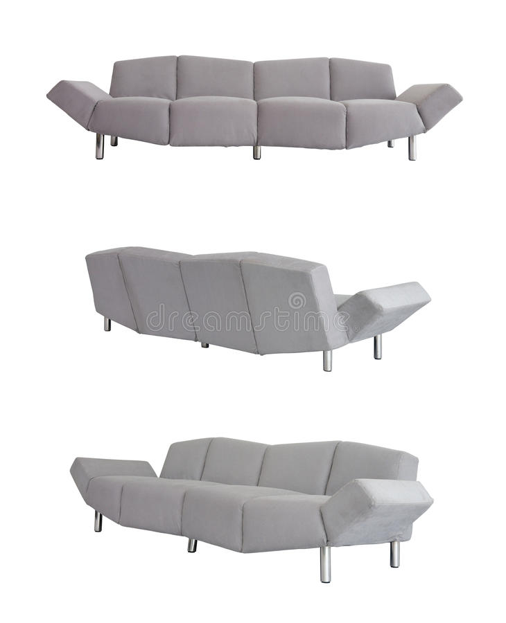 Grey Sofa in all angles. On white background royalty free stock image