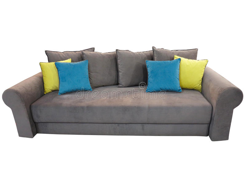 Grey sofa furniture with colored cushions isolated on white royalty free stock photo