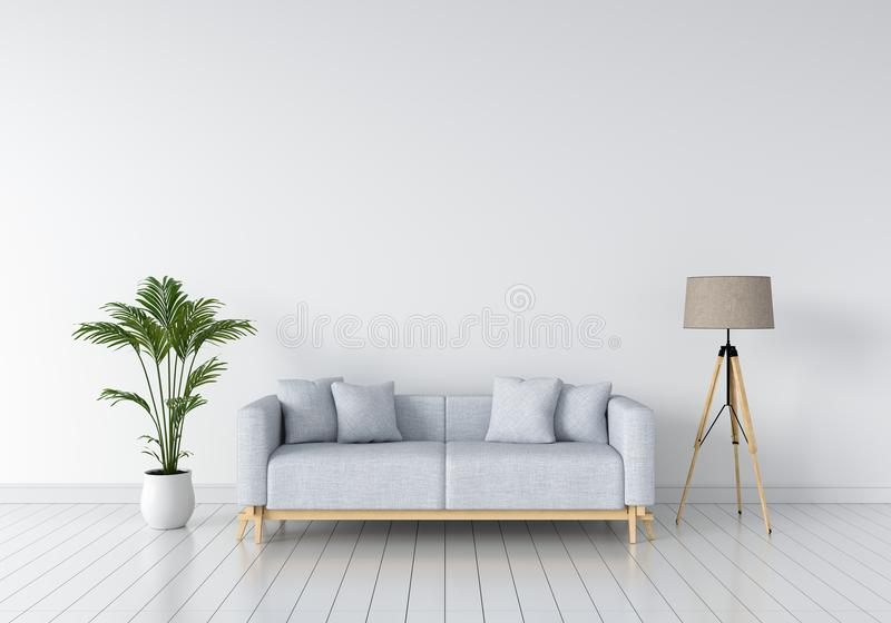 Grey sofa and lamp in white living room, 3D rendering vector illustration