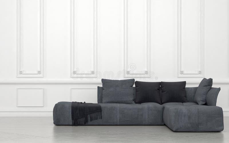 Grey Sofa med kudderum med vita väggar vektor illustrationer