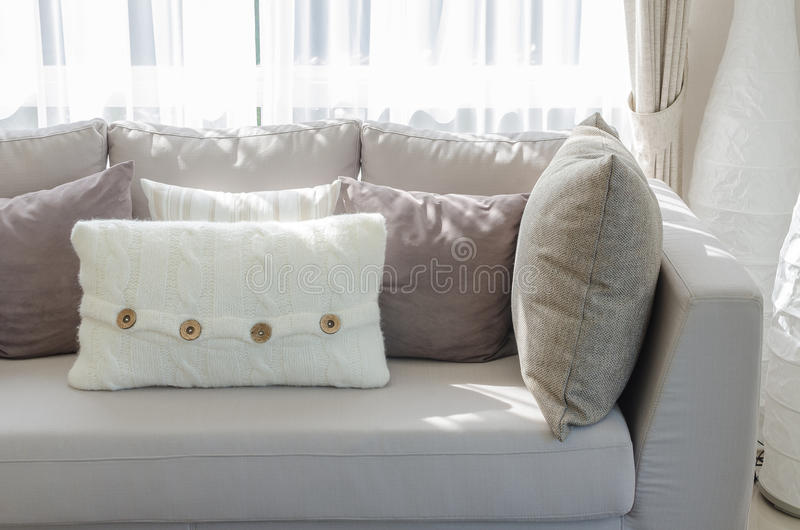 Grey Sofa With Pillows In Luxury Living Room Stock Image