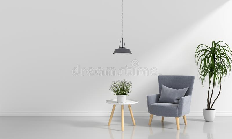 Grey sofa in white room and blank space for mockup, 3D rendering vector illustration