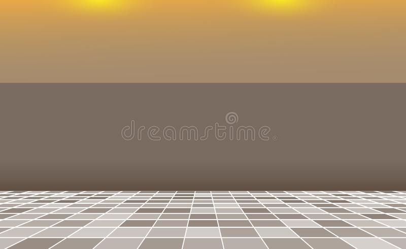 Grey square mosaic Tiles background, banner brown wall. Backdrop with abstract interior. Random gray Tiles. Texture tiling. Pool, royalty free illustration