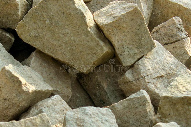 A Pile of grey square stones. stock photos
