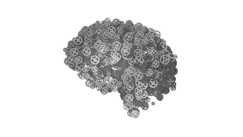 Grey steel ogwheel brain built from gears  - 3D illustration. Silver cogs and gears in the shape of a brain illustrating artificial intelligence and computing vector illustration